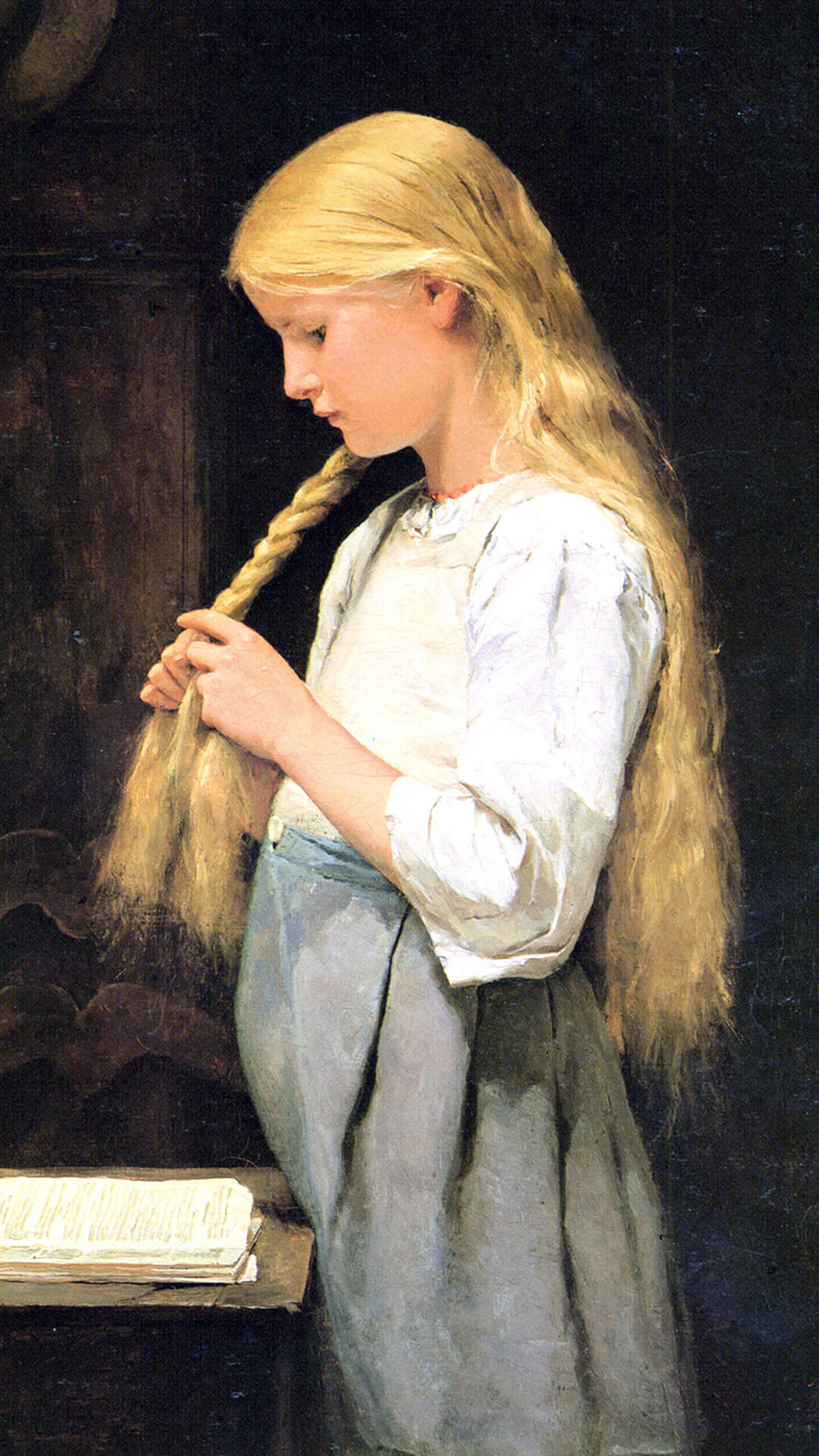 Albert Anker Girl Braiding Her Hair_1080x1920