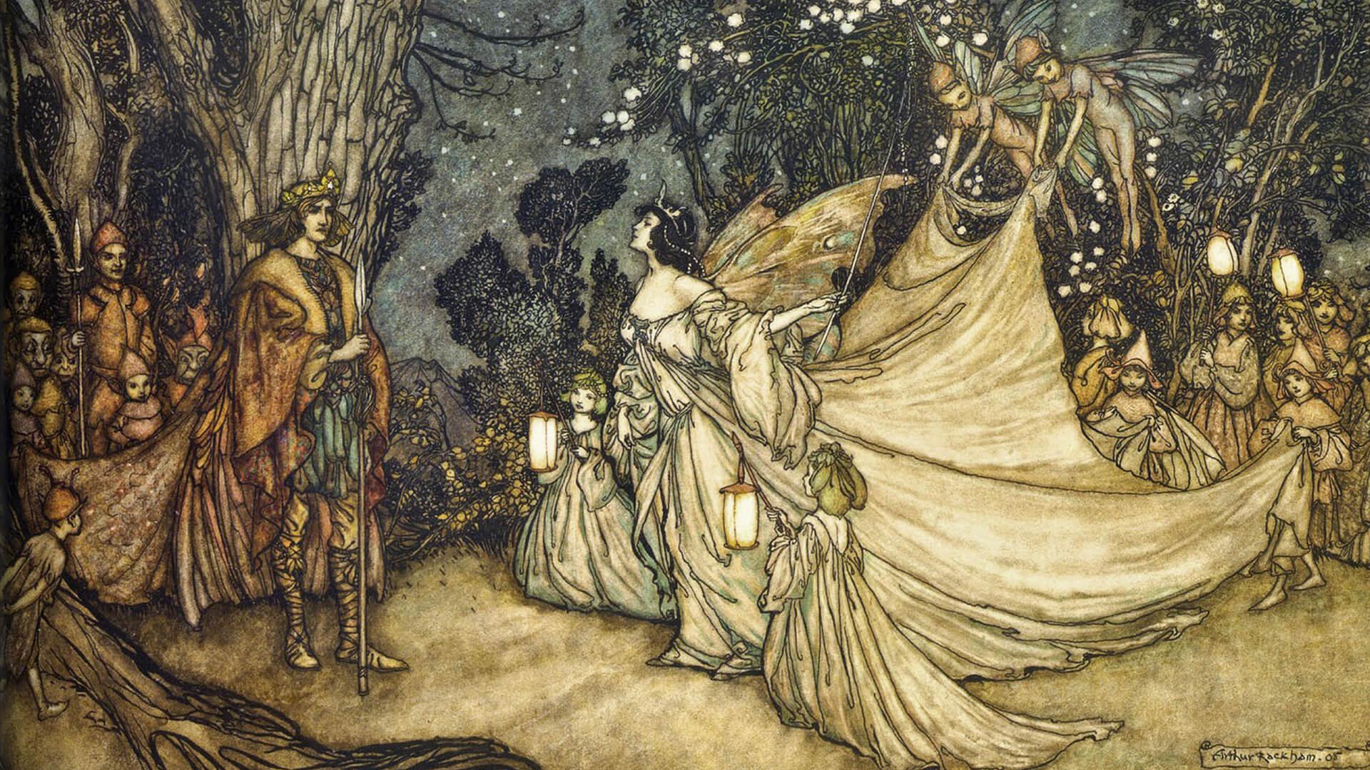 Arthur Rackham-The Meeting of Oberon and Titania_1920x1080